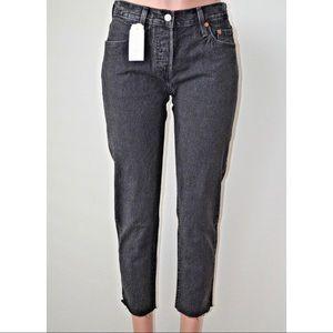 Levi's 501 Washed Black Crop Taper Jeans sz 28